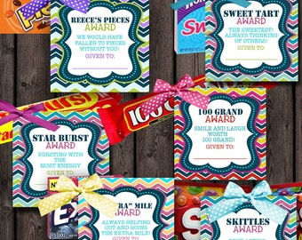 girls camp awards candy tags, 24 different candy tags sayings, candy awards, printable, instant download at purchase, 3.5 inch square, PDF