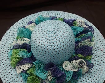 Blue Sun Hat with ruffle accent
