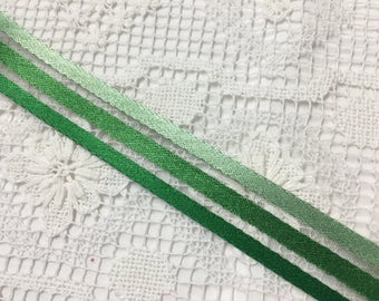VINTAGE SILK Ribbon  in green