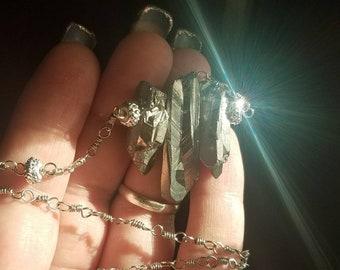 Handmade floating silver Crystal quartz necklace. Handmade chain.