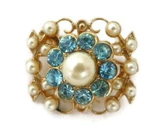 Coro Brooch, Faux Pearl Rhinestone Pin, 1950s Vintage Jewellery, Dainty Blue Rhinestone Pin, Signed Coro Jewelry, Gift for Her