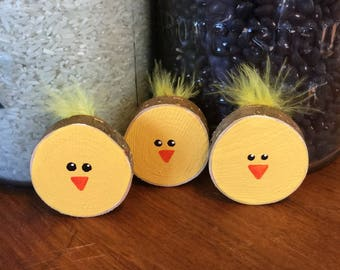 Wooden Chick Magnets / fridge magnets / Spring Magnets / Chick Magnets / Easter Magnets / Easter Chicks /Easter decor / Spring decor