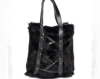 Fur bag - Every day Shopping Bag - Eco fair bag- Handmade - Large Leather Bag - Shoulder Bag - Tote Bag