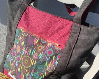 Large tote suede bag dream catcher, boho, beach bag fabric, bag jokes dreams fringes, vintage, gray Bohemian chic bag for women