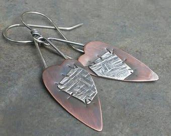 Rustic-Handmade- OOAK-Mixed Metal-Patchwork- Sterling Silver- Copper- Artisan-Heart-Earrings.
