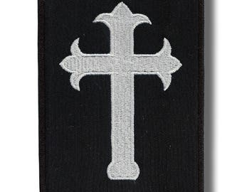 Inverted cross - embroidered patch, 9x12 cm