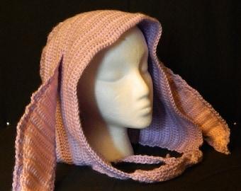 Crochet Hood, Orchid Bunny- Adult