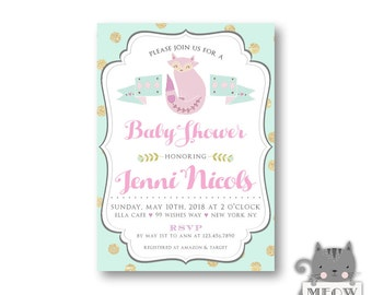 Pastel Baby Shower Invitation / Baby Sprinkle / Mint / Gold / Glitter / Polka Dot / Woodland Theme / Gender Neutral / For a Girl / 111a