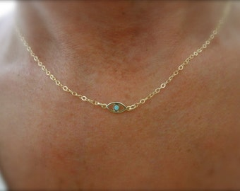 Gold evil eye necklace with a touch of enamel - 14K  gold-filled chain - protection necklace - tiny evil eye necklace - enamel eye
