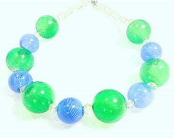 PUFFN glass necklace, blown glass balls, georgeous necklace, Glass collier.