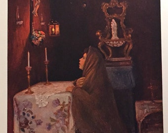 Antique Lithorgraph - Madonnina ,Pierdomenico Voltolina, Druck - 1908 - German Painting Print - Lithograph Print