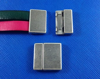 EUROPEAN Magnetic clasp, Flat leather clasp, Clasps for flat 20mm leather, Bracelet supplies, Antique silver zamak semi-curved - 1 clasp