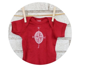 Compass Rose Screen Printed Baby Onepiece, Hand Printed, Garnet, Cranberry Red, Burgundy, Cotton Snapsuit, Infant Bodysuit, World Travel