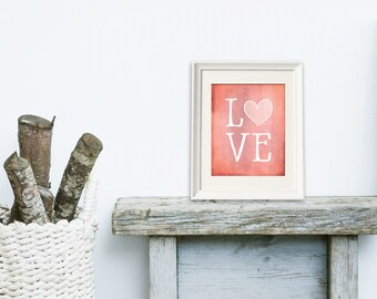 Love Art Paintings, Digital Art Print, Gift for her, Watercolor Art Print, Great Last Minute Gift