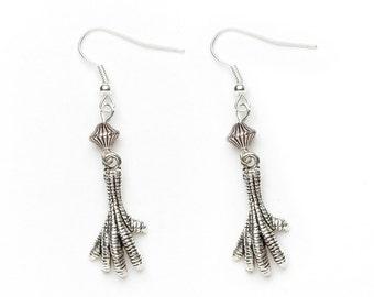 Bird Talon Earrings | Silver Talon Earrings | Dangle Earrings | Beaded Talon Earrings |