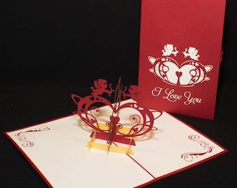 3-D Love Pop-Up Card, valentines card, valentines greeting card, valentines popup card, 3d valentines card