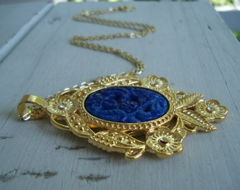 Vintage Lapis Carved Jade Glass Gold Pendant Necklace Victorian Inspired Floral