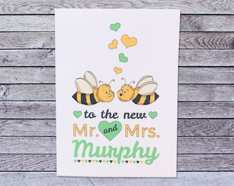 Personalized Wedding Congratulations Card Honey Bee