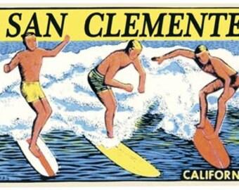 Vintage Style San Clemente CA  Trestles  surfing surfers  Travel Decal sticker