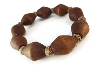 Chunky Wood and Cork Bracelet Brown, Wood Beaded Stretch Bracelet Natural Jewelry Design, Unisex Cork Jewelry Gift For Hiker, Small Size