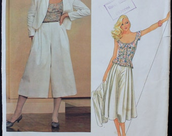 Vintage Perry Ellis Jacket, Culottes & Top Pattern from Vogue American Designers - Size 14
