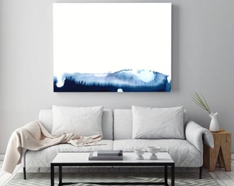 "Minimal Abstract Painting ""Blue Mountains"" by Jules Tillman -Fine Art Lustre Print minimal abstract landscape watercolor painting Blue White"