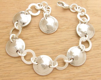 For 50th: 1968 US Dime Bracelet with Silver Rings 50th Birthday or 50th Anniversary Gift Coin Jewelry