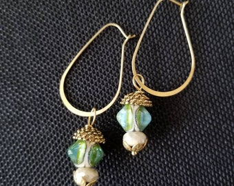 Ear baubles green drop earrings