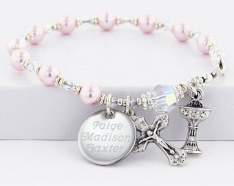 Communion Bracelet, Pink Rosary Bracelet, Communion Jewelry, Communion Gift, Girl Communion,  Pink Rosary, Pearl Rosary Bracelet, BrComPC4ab