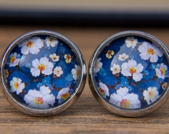 Blue Floral Earrings, Blue Flower Earrings, Floral Studs, Blue Earrings, Small Studs, Post Earrings, Stud Earrings, Glass Dome Earrings