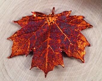 Maple Leaf Pendant, Copper Dipped Maple Leaf Pendant, Copper Maple Leaf, Leaf Pendant, Nature Pendant, PC2701
