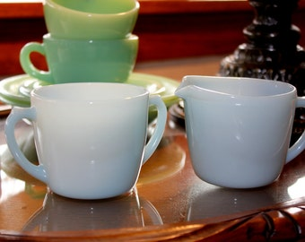 Rare Vintage Fire King Turquoise Blue Cream and Sugar Set