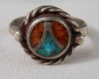 Vintage Turquoise and Red Coral Chips Ring Size 6 1/2