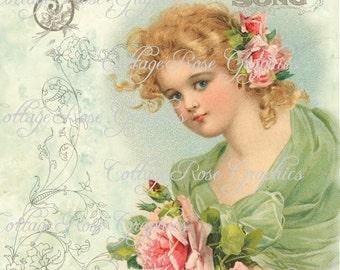 Large digital download Summer Girl Song pink roses single image BUY 3 get one FREE ecs