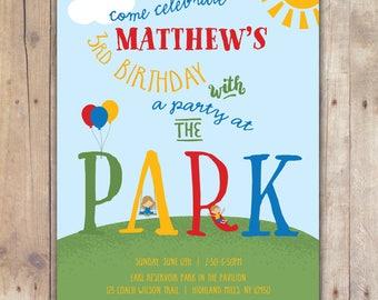 Party at the Park - Custom DIGITAL Birthday Party Invitation, any age