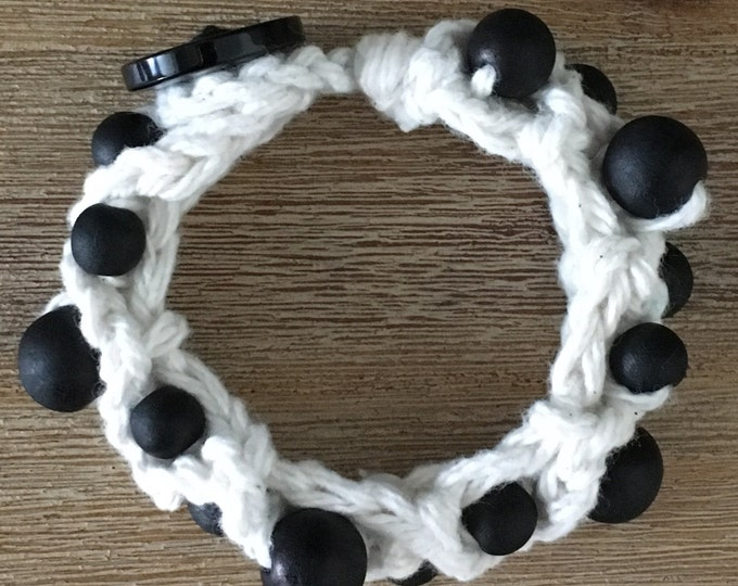 Crochet with wooden Beads Bracelet
