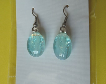 Hypo-Allergenic Turquoise & Blue Dichroic Glass Drop Earrings with Surgical Steel Ear Wires