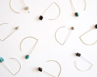 Drop Earrings in Pyrite Black Tourmaline or Turquoise Gold Fill or Sterling Silver