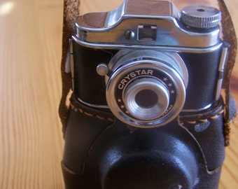 """Vintage 50's """"CRYSTAR SPY CAMERA""""  Original Leather Case Included at New Lower Price"""