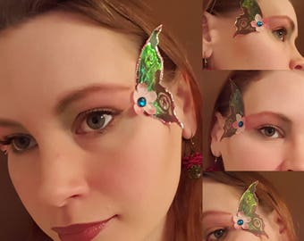 Pink brown and green fairy wings, glitter, fairy wings, makeup, false eyelashes, butterfly