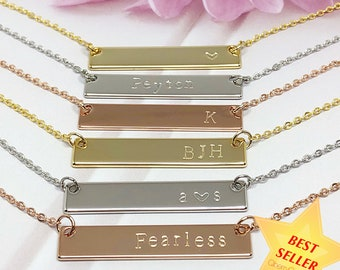 Personalized bar necklace. Bar necklace. Rose gold bar necklace. Hand Stamped Necklace. Name necklace. Custom bar necklace. Mothers Day Gift