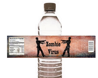 halloween Zombie Water Bottle Label DIY Halloween fun water bottle wrappers