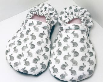 Bunny Shoes - White Moccasins - Bunny Booties - Rabbit Slippers - Bunnies Booties - Bunny Shoes - Toddler Moccasins - Baby Shoes