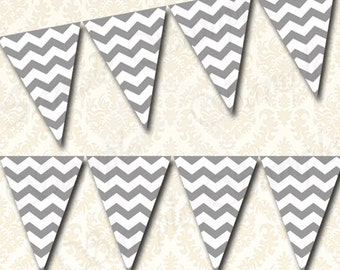 Gray Chevron Bunting Banner, Printable Pennants Party Banner Flags, DIY Craft Fair Banner, Birthday or Baby Shower Banner, Mix and  Match
