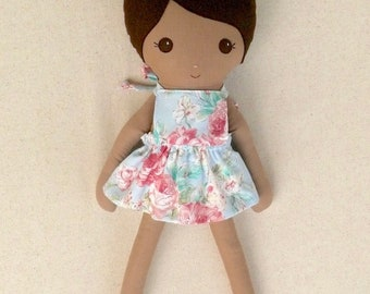 Reserved for Catherine - Fabric Doll Rag Doll 20 Inch Brown Haired Girl in Removable Blue Floral Sundress