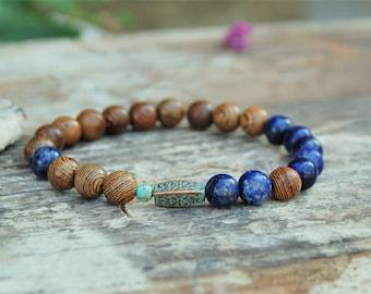 Lapis Bracelet Men Lapis Mala December Birthstone Bracelet October Birthstone Bracelet Wood Bracelet Lapis Lazuli Jewelry for Men