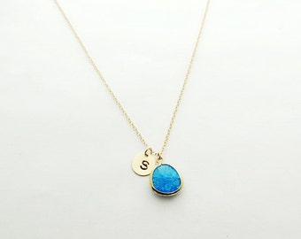 Turquoise Gold Initial Coin Necklace, December Birthstone Necklace, Personalized Necklace, Bridesmaid Gift