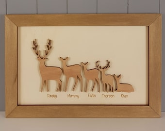 Bespoke Deer / Buck / Doe Family 3D Wall Art