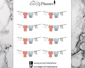 Planner Clothesline Laundry Stickers - Functional Stickers - Erin Condren, Kikki K, Emily Ley, Plum Paper, Inkwell, Limelife, Filofax