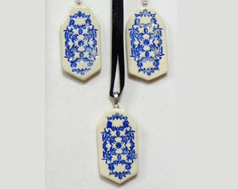 Blue handmade ceramic earring and pendant set